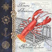 Vintage Nautical Lobster Poster