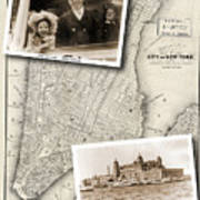 Vintage New York Map With Ellis Island Poster
