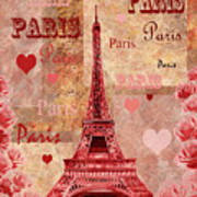 Vintage Paris And Roses Poster
