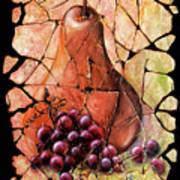 Vintage  Pear And Grapes Fresco   Poster