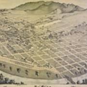 Vintage Pictorial Map Of El Paso Texas - 1886 Poster