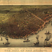 Vintage Pictorial Map Of New Orleans - 1885 Poster