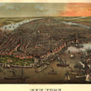 Vintage Pictorial Map Of New York City - 1873 Poster