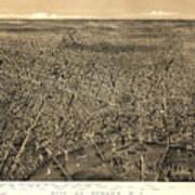 Vintage Pictorial Map Of Newark Nj - 1874 Poster
