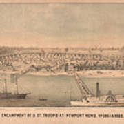 Vintage Pictorial Map Of Newport News Va - 1862 Poster