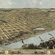 Vintage Pictorial Map Of Omaha Nebraska - 1868 Poster