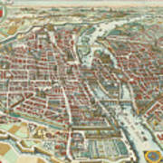Vintage Pictorial Map Of Paris - 1615 Poster