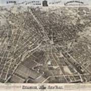 Vintage Pictorial Map Of Syracuse New York - 1874 Poster