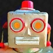 Vintage Robot Toy Square Pop Art Poster