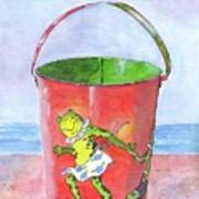 Vintage Sand Pail Dancing Frogs Poster