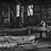 Vintage Sawmill In Black And White Poster