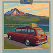 Vintage Squareback At Trillium Lake Poster by Mitch Frey
