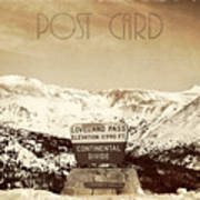 Vintage Style Post Card From Loveland Pass Poster by Juli Scalzi