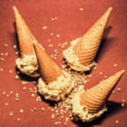 Vintage Summer Ice Cream Spill Poster