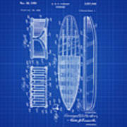 Vintage Surf Board Patent Blue Print 1950 Poster