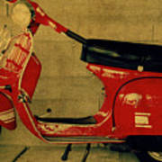 Vintage Vespa Scooter Red Poster