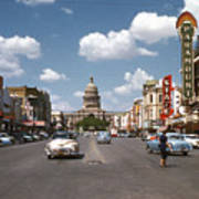 Vintage View Downtown Austin Looking Up Congress Avenue In Front Poster