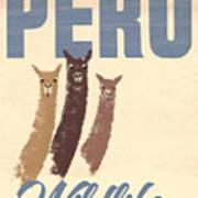 Vintage Wild Life Travel Llamas Poster