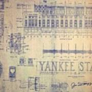 Vintage Yankee Stadium Blueprint Poster