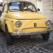 Vintage Yellow Fiat 500 In Rome Poster