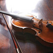 Violin On Table Poster