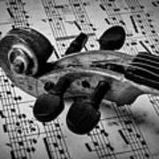 Violin Scroll On Sheet Music Poster