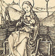 Virgin And Child On A Grassy Bench Poster