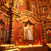 Virgin Mary Statue Candles Mission San Xavier Del Bac Poster