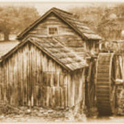 Virginia Country Roads - Mabry Mill No. 23 Sepia - Blue Ridge Parkway, Floyd County Poster