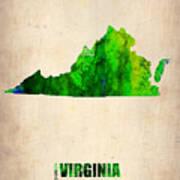 Virginia Watercolor Map Poster
