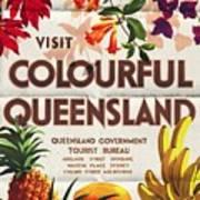 Visit Colorful Queensland - Vintage Poster Folded Poster