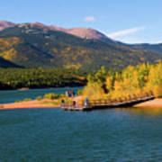 Visitors At Pikes Peak And Crystal Reservoir Poster