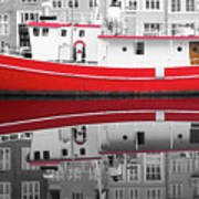 Vivid Rich Red Boat Poster