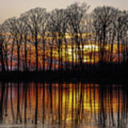 Vivid Sunset On The Lake In Olney Poster