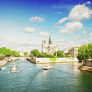 Notre Dame And River Seine Poster