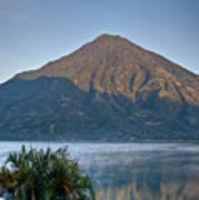 Volcano And Reflection Lake Atitlan Guatemala Poster