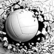 Volleyball Ball Breaking Forcibly Through A White Wall. 3d Illustration. Poster