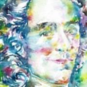 Voltaire - Watercolor Portrait Poster