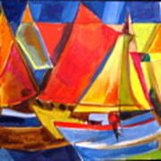 Voyage Of Boats Poster by Therese AbouNader