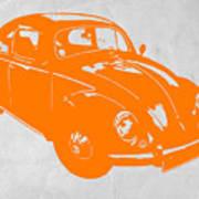Vw Beetle Orange Poster by Naxart Studio