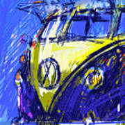 Vw Bus Blue Poster