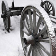 Wagon Wheels In Snow Poster