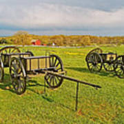 Wagons Used In The Civil War In Gettysburg National Military Park-pennsylvania Poster