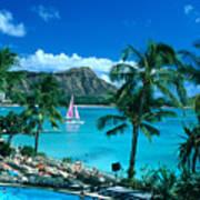 Waikiki And Sailboat Poster