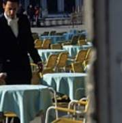 Waiter Preparing For The Day In Piazza San Marco In Venice Poster