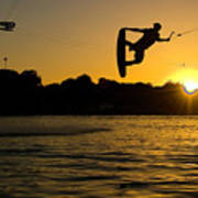 Wakeboarder At Sunset Poster by Andreas Mohaupt