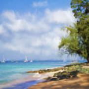 Walking Along The Beach, Holetown, Barbados Poster