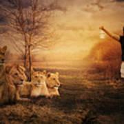 Walking Between Lions Poster