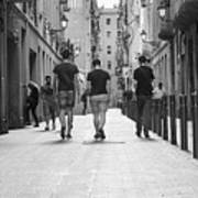 Walking In Barcelona Poster