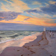 Walking On The Beach At Sunset Poster